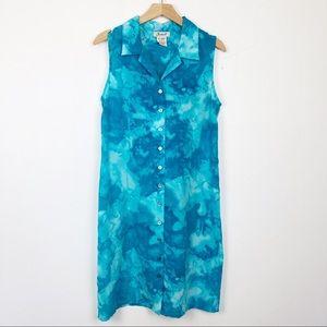 Vintage tie dye blue bleach sleeveless midi dress